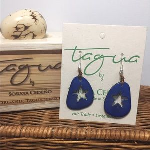 Tagua Nut, Hand Carved Starfish Earrings